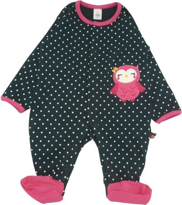 Toffyhouse Baby Girl's Black, Pink Sleepsuit