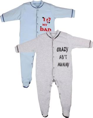 Gkidz Baby Boy's Light Blue, Grey Sleepsuit