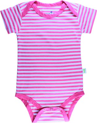 Little Green Kid Organic Cotton Pink and White Stripes Half Sleeve Envelope Neck Romper Baby Boy's Pink, White Bodysuit