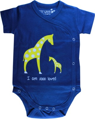 Little Green Kid Organic Cotton Indigo Giraffe Print Kimono Romper Baby Boy's Dark Blue Bodysuit