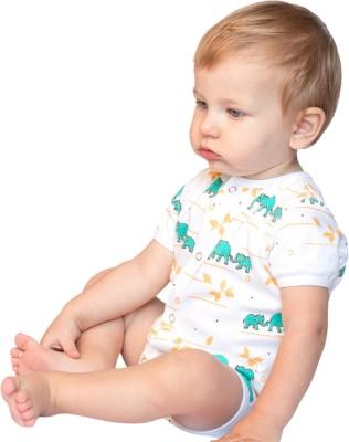 BACHHA ESSENTIAL Baby Boy's Blue Elephants Bodysuit