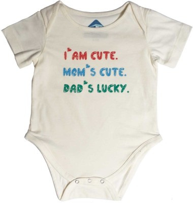 Blue Bus Store Slogan Baby Boy,s White Bodysuit