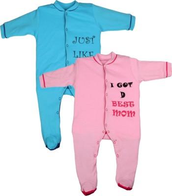 Gkidz Baby Boy's Blue, Pink Sleepsuit
