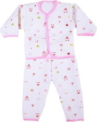 Zonko Style Baby Girl's White, Pink Bodysuit and Bib