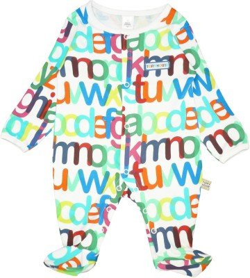 Toffyhouse Baby Boy's White, Multicolor Sleepsuit