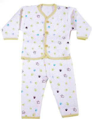 Zonko Style Baby Girl's White, Olive, Blue Bodysuit and Bib