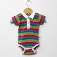 Little Green Kid Organic Cotton Multicolor Half Sleeve Polo Neck Romper Baby Boys Multicolor Bodysuit