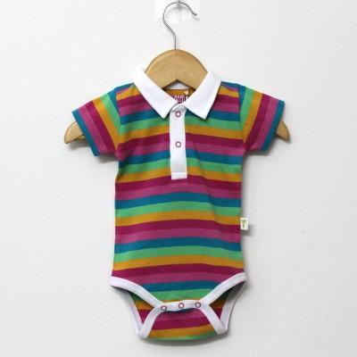 Little Green Kid Organic Cotton Multicolor Half Sleeve Polo Neck Romper Baby Boy's Multicolor Bodysuit