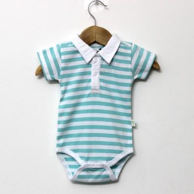 Little Green Kid Organic Cotton Multicolor Half Sleeve Polo Neck Romper Baby Boy's Green, White Bodysuit