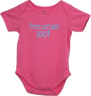 Blue Bus Store SLOGAN T-SHIRTS Baby Boy,s Pink Bodysuit