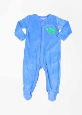 FS Mini Klub Velor Baby Boy's Blue Sleepsuit