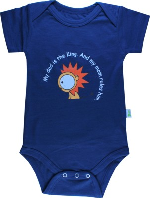 Little Green Kid Organic Cotton Half Sleeve Envelope Neck Baby Boy's Dark Blue Bodysuit