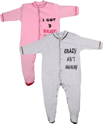 Gkidz Baby Boy's Pink, Grey Sleepsuit