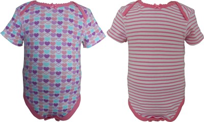 Teddy's choice Baby Girl's White, Pink Bodysuit