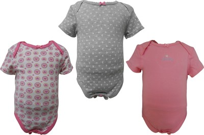 Teddy's choice Baby Girl's White, Gray, Pink Bodysuit