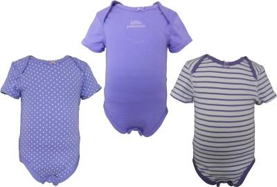 Teddy's choice Baby Girl's Purple, White & Purple Striped, Light Purple Bodysuit