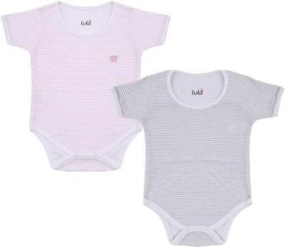 Lula Pair of Feathers Baby Boys Pink, Grey Bodysuit