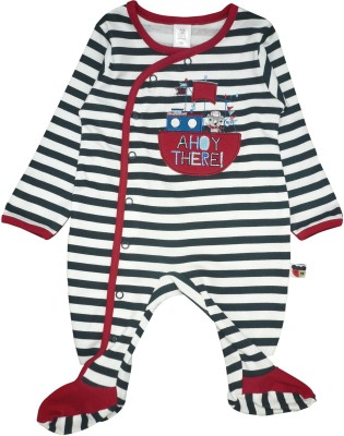 Toffyhouse Baby Boy's White, Black Sleepsuit