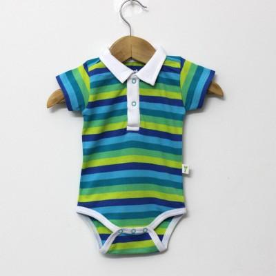 Little Green Kid Organic Cotton Gradient Green Half Sleeve Polo Neck Romper Baby Boy's Green, Dark Green, Light Green Bodysuit