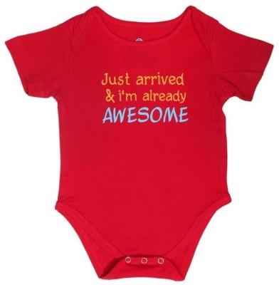 Blue Bus Store Slogan T-Shirts Baby Boys Red Bodysuit