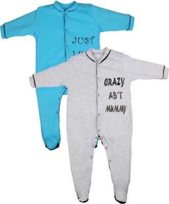 Gkidz Baby Boy's Blue, Grey Sleepsuit