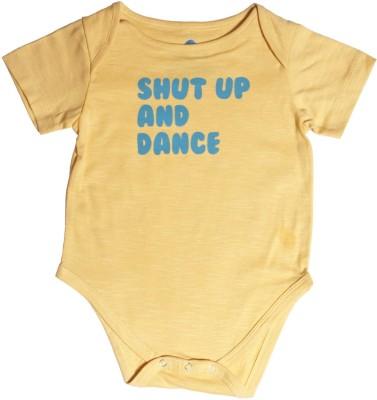 Blue Bus Store Slogan Baby Boy,s Yellow Bodysuit