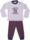 Kuddle Kid Baby Boys Grey, Red Sleepsuit