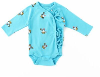 Little Green Kid Kimono Baby Boy's Blue Bodysuit
