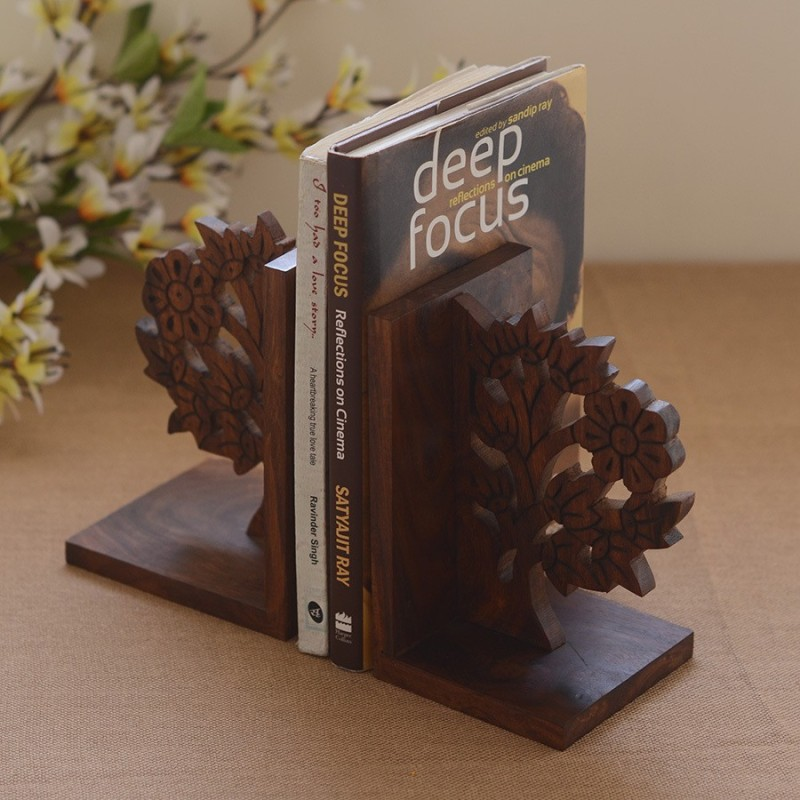 Unravel India Wooden Book End(Brown, Pack of 1)