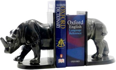 Gaarv Standing Rhino Bookend Aluminium Book End(Black, Pack of 2)