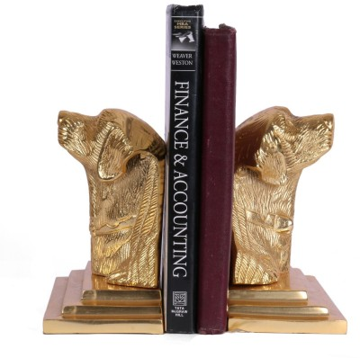 Collectible India Pair Dog Sculpture Aluminium Book End(Gold, Pack of 2)