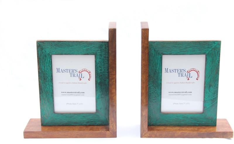 MASTER'S TRAIL SCRUBBED GREEN BOOKEND Wooden Book End(Green, Pack of 2)