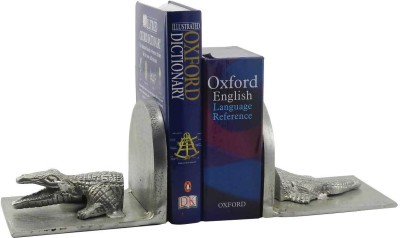 Gaarv Croc Bookend Aluminium Book End(Silver, Pack of 2)
