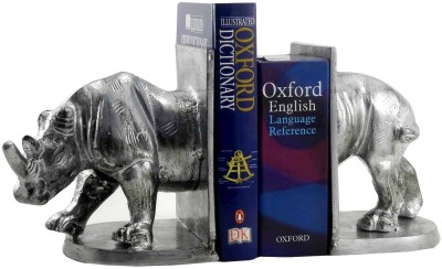 Gaarv Standing Rhino Bookend Aluminium Book End(Silver, Pack of 2)
