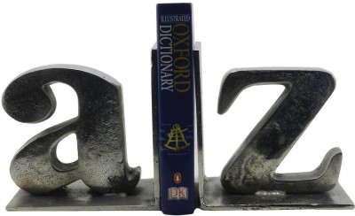 Gaarv Alphabet Bookend Aluminium Book End(Silver, Pack of 2)