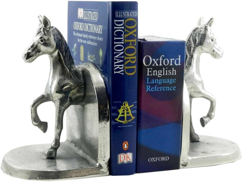 Gaarv INI-7301 Aluminium Book End(Silver, Pack of 1)