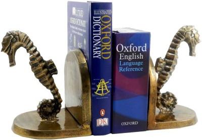 Gaarv Dancing Sea Horse Bookend Aluminium Book End(Gold, Pack of 2)