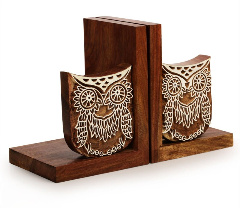 ExclusiveLane Owl Engraved Wooden Book End(Brown, Pack of 2)
