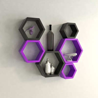 Ganeshaas Gphxd024bv Black N Purple Beehive Hexagon Floating MDF Wall Shelf