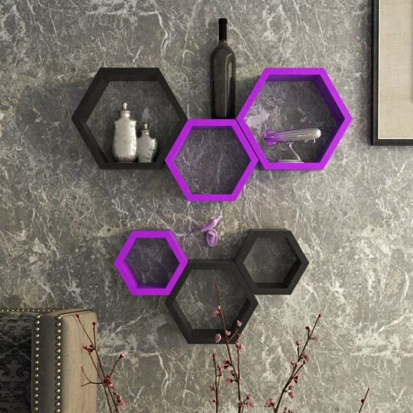 View Paras Decor Engineered Wood Semi-Open Book Shelf(Finish Color - Purple & Black) Furniture (Paras Decor)