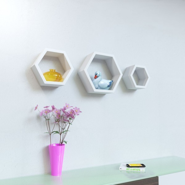 View Surya Ind Hexagon Shape MDF Wall Shelf(Number of Shelves - 3, White) Furniture (Surya Ind)