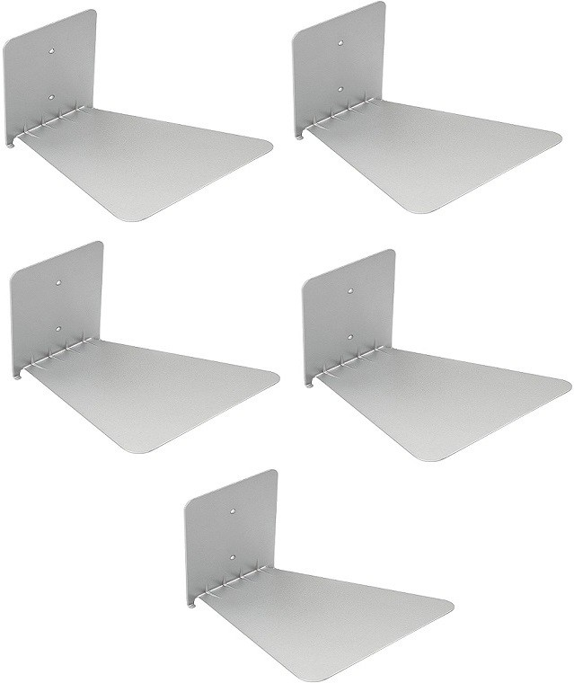 View Solid Set Of Five Invisible Room Decorative Bookcase Holder Hidden Rack Floating Creative Decor Wall Mount Metal Open Book Shelf(Finish Color - Silver) Furniture (Solid)