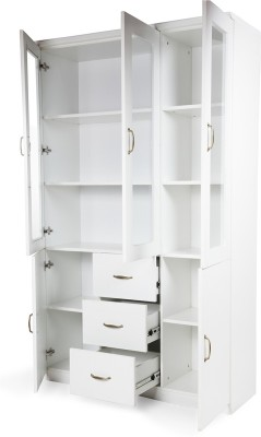 HomeTown Legacy Engineered Wood Semi-Open Book Shelf(Finish Color - White)