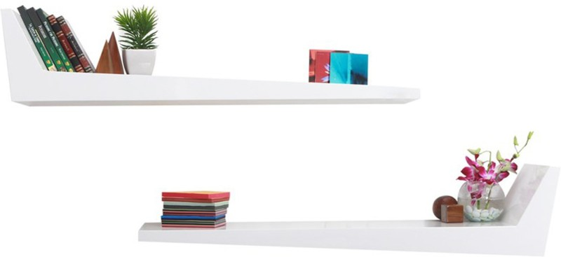 Lekiaan Engineered Wood Open Book Shelf(Finish Color - White)
