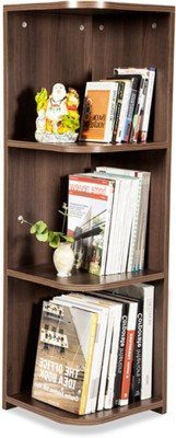 Debono Flora Corner Book Rack with Four shelves Engineered Wood Open Book Shelf