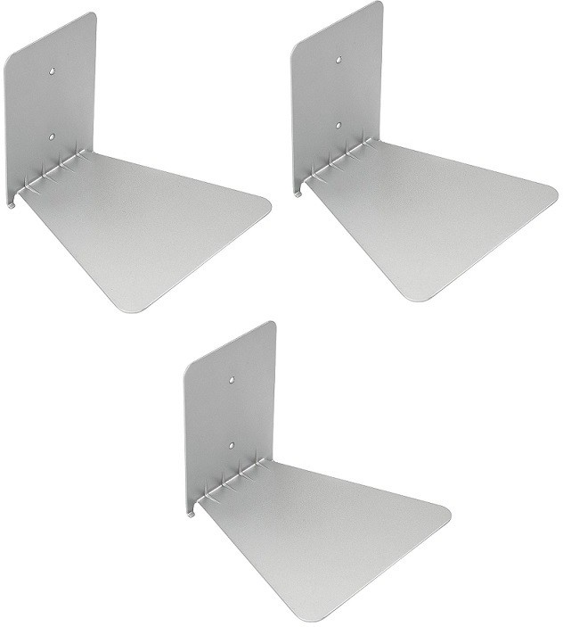 View Solid Set Of three Invisible Room Decorative Bookcase Holder Hidden Rack Floating Creative Decor Wall Mount Metal Open Book Shelf(Finish Color - Silver) Furniture (Solid)