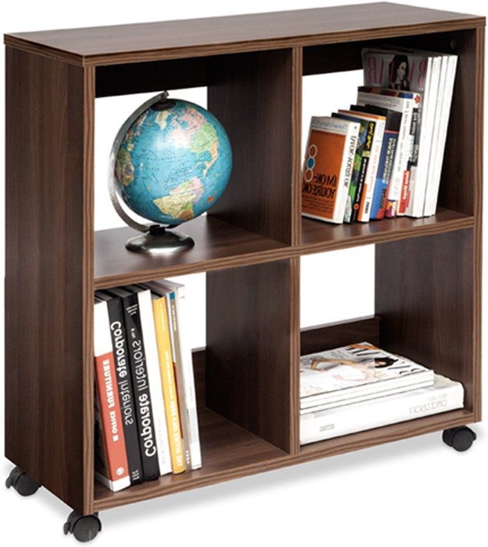 View Debono Admire Book Rack on Castors Engineered Wood Open Book Shelf(Finish Color - Acacia Dark Matt Finish) Furniture (Debono)