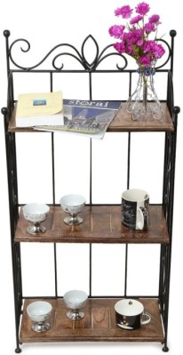Onlineshoppee Solid Wood Semi-Open Book Shelf