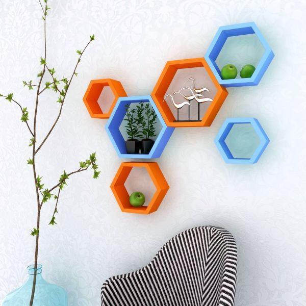 View Paras Decor Engineered Wood Semi-Open Book Shelf(Finish Color - Sky Blue & Orange) Furniture (Paras Decor)