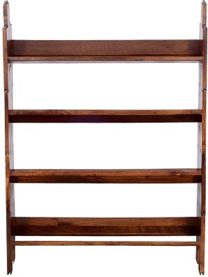 Ringabell Folding Solid Wood Open Book Shelf(Finish Color - Teak)